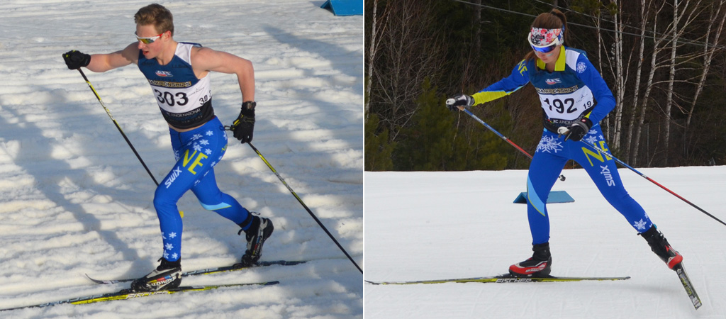 Josh Valentine during his sprint qualifier and Mary Kretchmer during the 5km freestyle indivual race