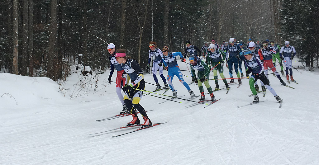 John Henry Paluszek leading the field at Craftsbury Eastern Cup 15km mass start race (2/4/2018)