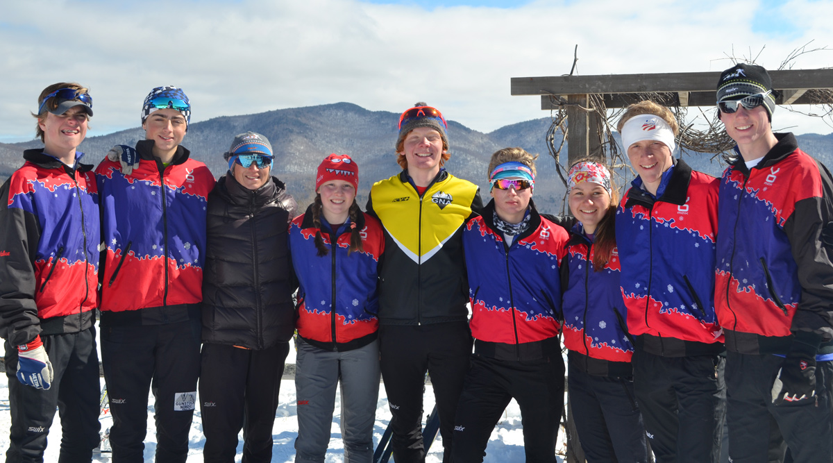 GNA Skiers for Team New Hampshire with Coach Nina
